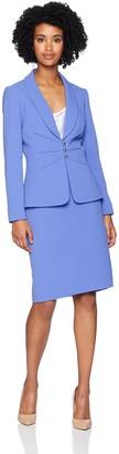 Tahari by Arthur S. Levine Women's Shawl Collar 3 Button Pintucked Crepe Skirt Suit