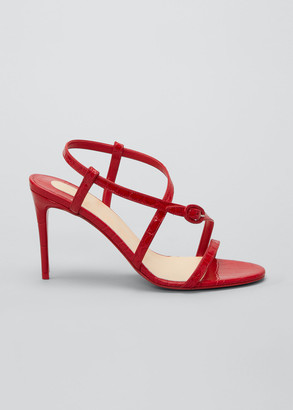 Christian Louboutin Selima Mock-Croc Stiletto Red Sole Sandals