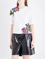 3.1 Phillip Lim Floral-embroidered cotton-jersey T-shirt