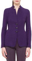 Akris Cashmere-Blend Jersey Reversible Button Jacket