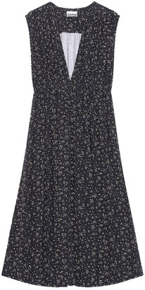 Ganni Sleeveless V-Neck Printed Crepe Dress in Black