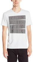 Calvin Klein Jeans Men's Stacked Logo V-Neck T-Shirt