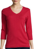 ST. JOHN'S BAY St. Johns Bay 3/4-Sleeve Fitted Essential V-Neck T-Shirt