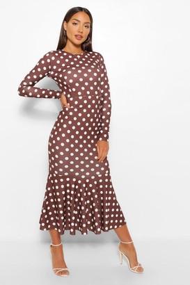 boohoo Polka Dot Fishtail Long Sleeve Midaxi Dress