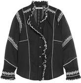 Etoile Isabel Marant Lauryn Embroidered Cotton-voile Blouse - Black