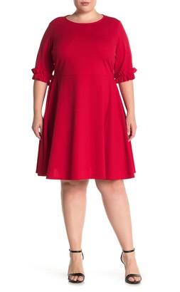 Tash + Sophie Pleated Ruffle Cuff Dress (Plus Size)