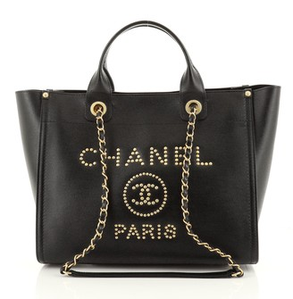 Chanel Deauville Tote Studded Caviar Small