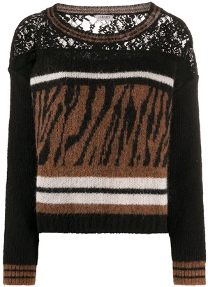 Liu Jo Animal-Print Panelled Jumper