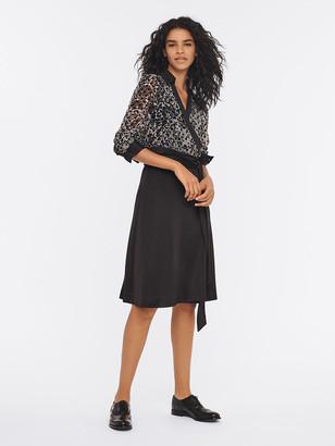 Diane von Furstenberg Angelina Velvet Burnout Wrap Dress