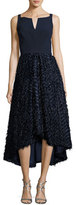 Milly Adalyn Sleeveless Mixed-Media Cocktail Dress, Navy