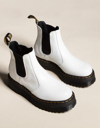 Dr. Martens 2976 Quad Platform Womens White Chelsea Boots