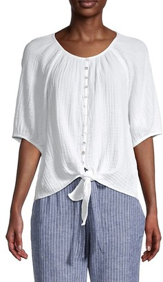 BeachLunchLounge Lala Cotton Tie-Front Blouse