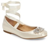Badgley Mischka Women's Karter Embellished Ankle Wrap Ballet Flat