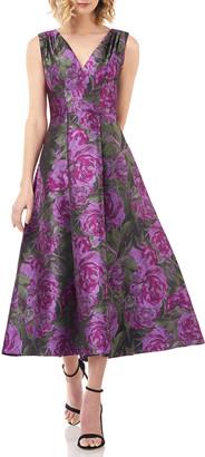 Kay Unger New York Lena Floral Jacquard V-Neck Sleeveless Midi Dress