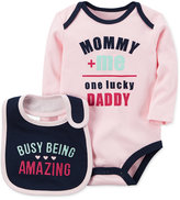 Carter's 2-Pc. One Lucky Daddy Cotton Bodysuit & Bib Set, Baby Girls (0-24 months)