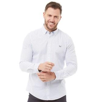 Crew Clothing Mens Geo Print Long Sleeve Shirt Ivory Blue