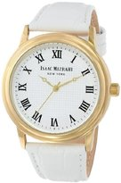 Isaac Mizrahi Women's IMN03W White Gold Tone Polished Vintage Case White Leather Strap Watch
