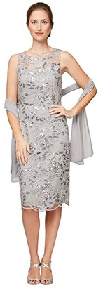 Alex Evenings Petite Short Embroidered Shift Dress with Illusion Neckline and Shawl (Dove) Women's Dress
