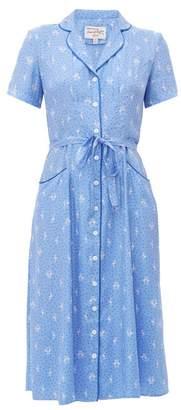 HVN Maria Flamingo-print Silk Midi Dress - Womens - Blue