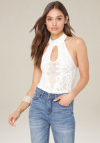 Bebe Lace Look Halter Bodysuit