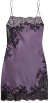 Carine Gilson Chantilly Lace-trimmed Silk-satin Chemise - Dark gray