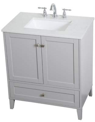 "Beachcrest Home Georgina 30"" Single Bathroom Vanity Set Base Finish: Gray"