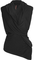 Rick Owens Twist-front Crepe De Chine-trimmed Stretch-jersey Top - Black