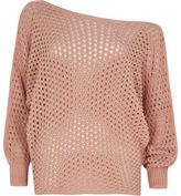 River Island Womens Pink mesh knit off shoulder batwing sweater