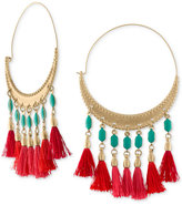 Rachel Roy Gold-Tone Beaded Tassel Hoop Drop Earrings