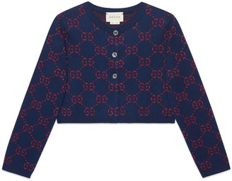 Gucci Children's GG cotton lame cardigan