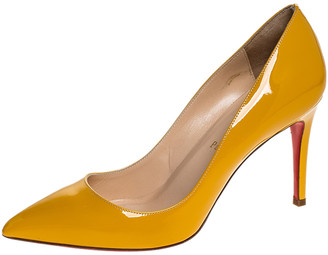 Christian Louboutin Mustard Patent Leather Pigalle Pointed Toe Pumps Size 38