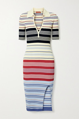 Altuzarra Barkers Striped Ribbed-knit Dress - Cream