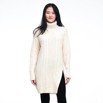 Naadam Wool Cashmere Cable Knit Turtleneck Tunic