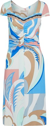 Emilio Pucci Ruched Printed Jersey Dress