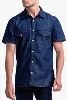 7 For All Mankind Short Sleeve Denim Shirt In Indigo