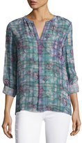 Joie Brigid Floral Plaid Silk Shirt, Purple