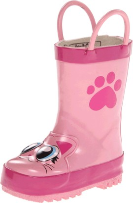 Western Chief Girl's Waterproof Printed Rain Boot with Easy Pull on Handles