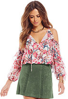 Gianni Bini Camelia Ruffled Cold-Shoulder Floral Blouse