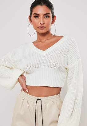 Missguided White V Neck Balloon Sleeve Cropped Jumper