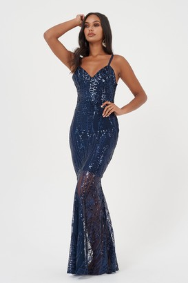 Club L Womens **Navy Sequin Fishtail Maxi Dress By Navy Blue