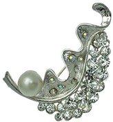 AJ Fashion Jewellery Cyrene Silver tone faux Pearl Crystal Brooch