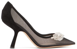 Nicholas Kirkwood Monstera Leaf-embellished Mesh Pumps - Black