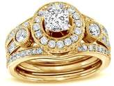 FineTresor 2.00 Carat Princess Diamond Engagement Ring Bridal Set on 10K Yellow Gold
