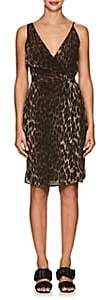 L'Agence Women's Julieta Leopard-Print Silk Wrap Dress - Olive