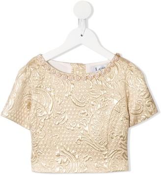 Lesy Brocade Short-Sleeve Top