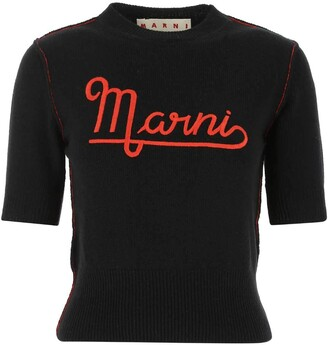 Marni Logo Short Sleeve Knitted Top