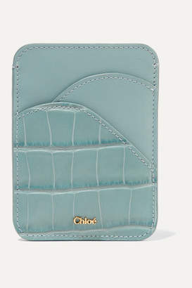 Chloé Walden Smooth And Croc-effect Leather Cardholder - Blue