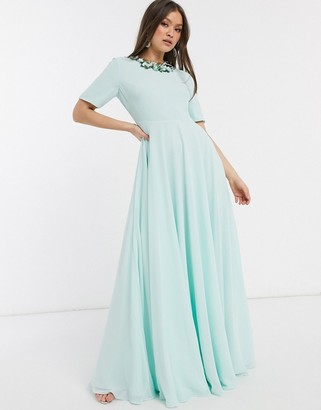 ASOS DESIGN maxi dress with short sleeve and 3D embellished neckline