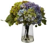 Nearly Natural Hydrangea Arrangement in Glass Vase