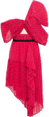 Self-Portrait One-shoulder Draped Fil Coupe Georgette Dress
